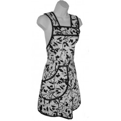 Organic Cotton Full Apron - B&W Whispering Grass