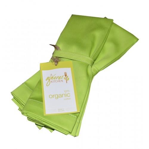 Organic Cotton Napkins (Set of 4) - Lime Green