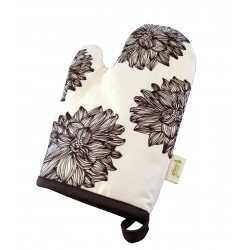 Organic Cotton Oven Mitt - Evelyn/Chocolate Brown