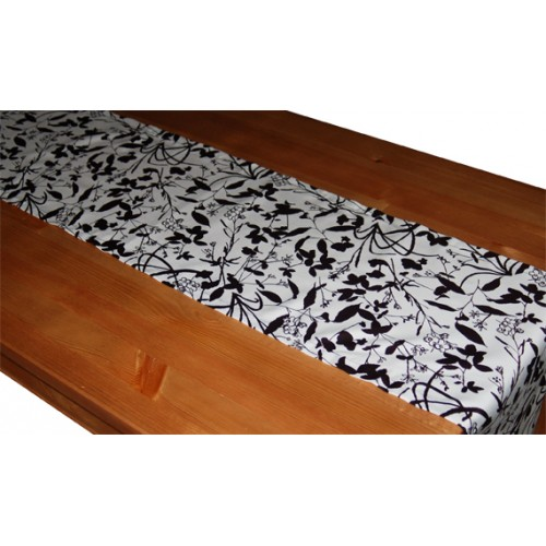 "Organic Cotton Table Runner (13"" x 72"") - B&W Whispering Grass"