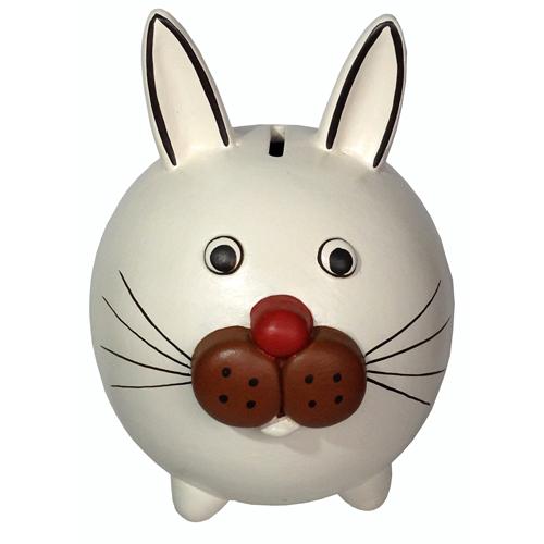 White Ceramic Rabbit Bank from Peru