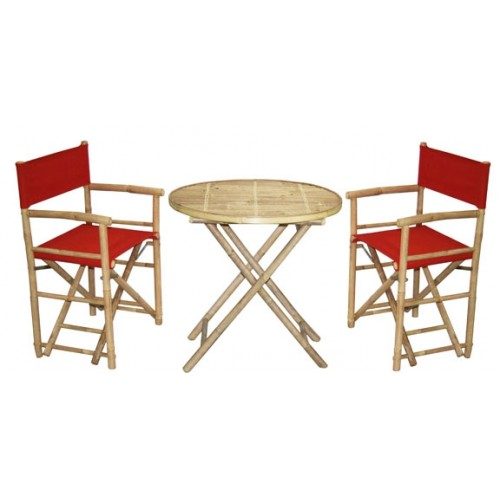 2 Director's Chairs and Round Table Set, 8 Colors