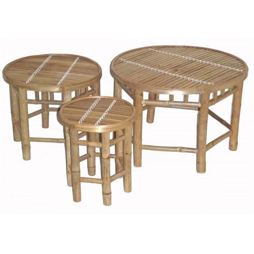 Bamboo nesting stool 3 piece round