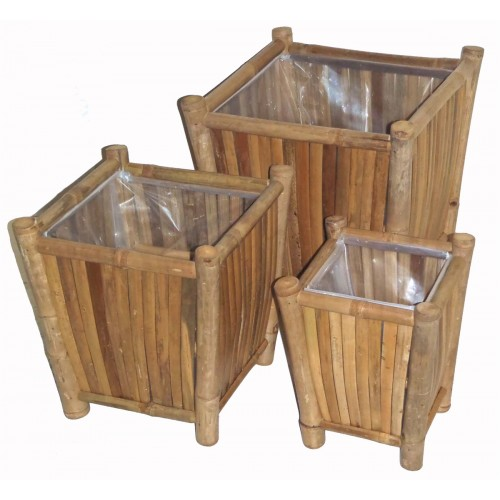 3 Piece Square Bamboo Planter Set