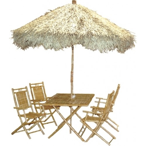 Bamboo large palapa family patio set