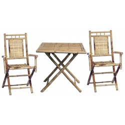 Bamboo folding square 3 piece bistro set