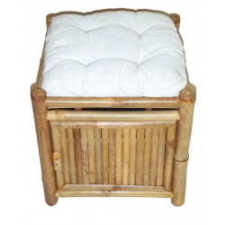 Bamboo Storage Stool with Cushion