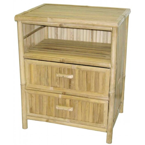 Bamboo Table / Nightstand with 2 Drawers