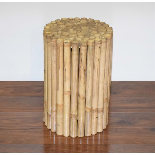 Rustic Round Bamboo Side Table / Stool