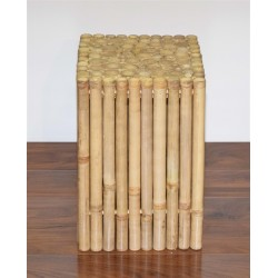 Rustic Square Bamboo Side Table/ Stool