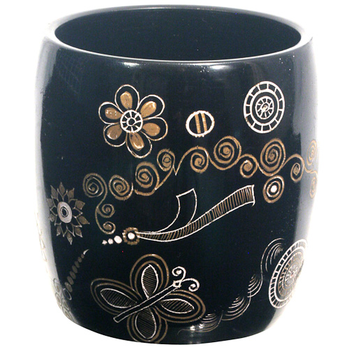 Butterfly Design Lacquer Pencil Holder