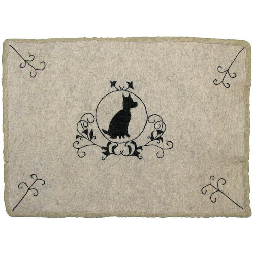Dog Embroidered Felt Doormat