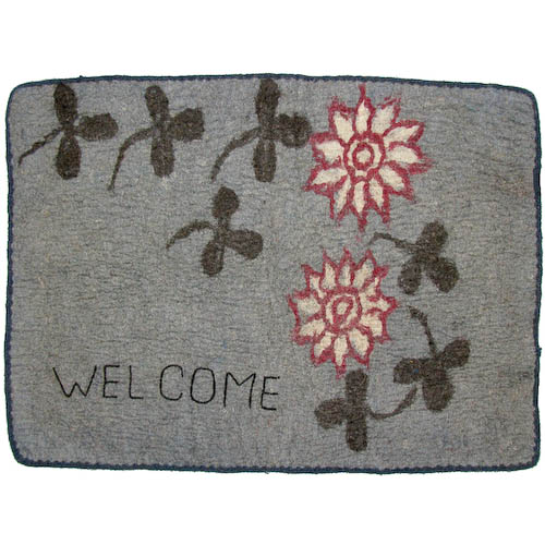 Welcome Embroidered Felt Doormat with Clovers