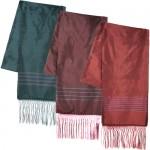 Striped Silk Scarf with Tassels